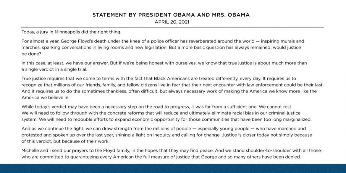 Statement by President Obama and Mrs. Obama image