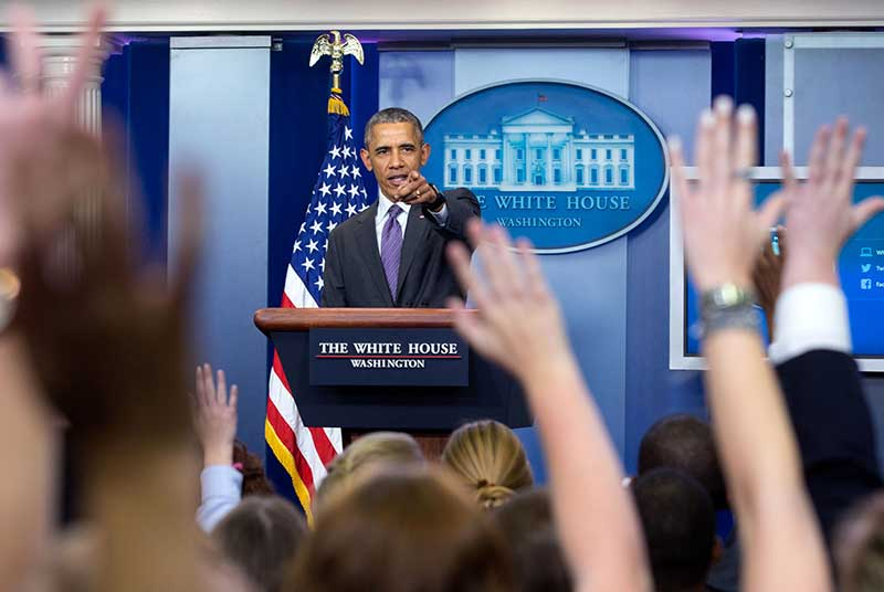 President Barack Obama takes questions from student reporters during College Reporter Day in the James S. Brady Press Briefing Room of the White House, April 28, 2016. (P042816AL-0076)