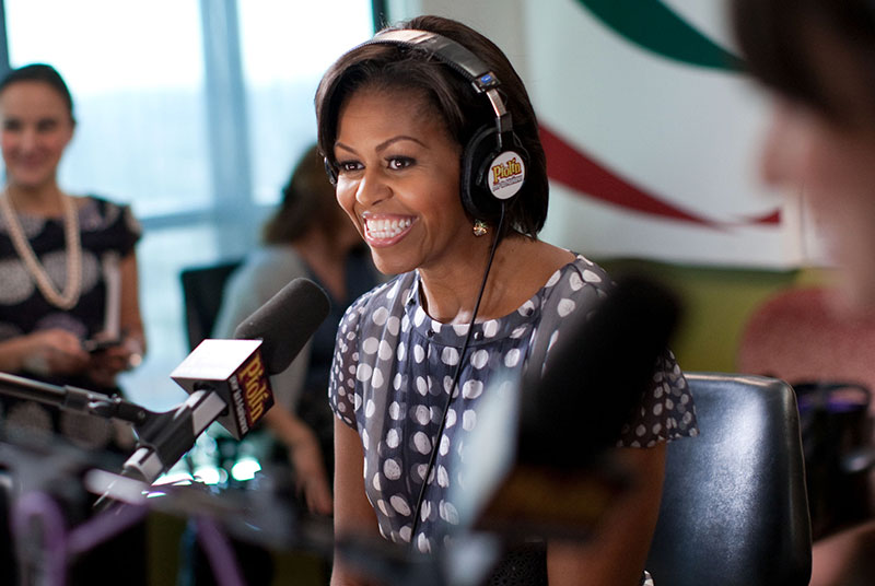 First Lady Michelle Obama does an interview with radio show host Eddie 'Piolin' Sotelo at the Univision Radio building in Glendale, Calif., Oct. 27, 2010. Piolin has one of the top radio shows in the country. (Official White House Photo by Lawrence Jackson)